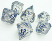 Transparent & Blue Elven Dice Set